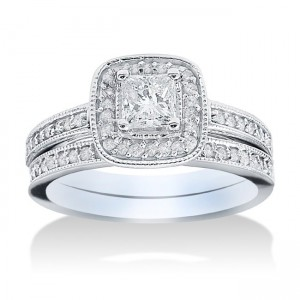 White Gold 1 1/6ct TDW Halo Diamond Bridal Set - Custom Made By Yaffie™