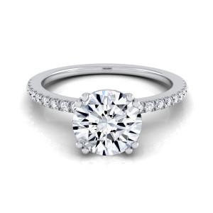 White Gold 1 1/6ct TDW Round Diamond Classic Petite Split Prong IGI-certified Engagement Ring - Custom Made By Yaffie™