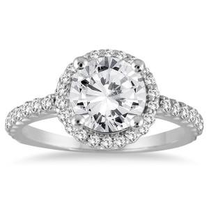 White Gold 1 1/8ct TDW Diamond Halo Engagement Ring - Custom Made By Yaffie™