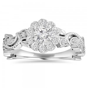 White Gold 1/ 2 ct TDW Diamond Vintage Pedal Engagement Wedding Ring - Custom Made By Yaffie™