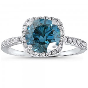 White Gold 1 3/4 ct TDW Blue Diamond Cushion Halo Engagement Ring With Accents - Custom Made By Yaffie™