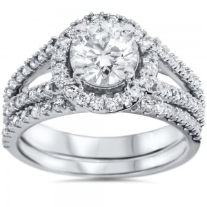 White Gold 1 3/4 ct TDW White Diamond Split Shank Halo Bridal Set - Custom Made By Yaffie™