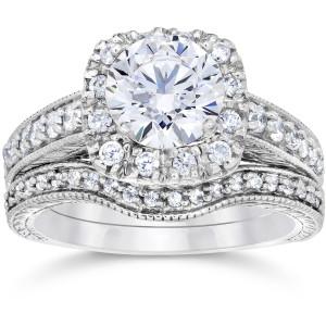 White Gold 1 3/4ct Clarity Enhanced Cushion-cut Diamond Halo Vintage Bridal Set - Custom Made By Yaffie™