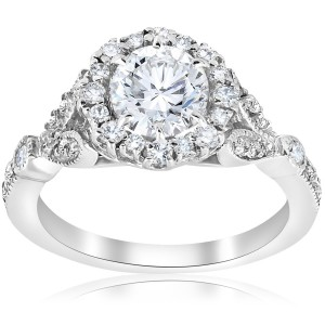 White Gold 1 3/8 ct TDW Diamond Clarity Enhanced Vintage Halo Engagement Ring - Custom Made By Yaffie™