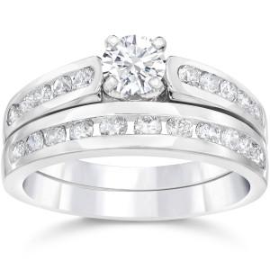 White Gold 1 3/8ct TDW Diamond Engagement Wedding Ring Set - Custom Made By Yaffie™