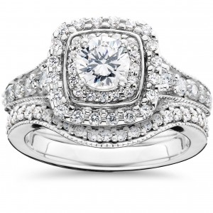 White Gold 1 5/ 8ct TDW Double Halo Vintage Engagement Wedding Ring Set - Custom Made By Yaffie™