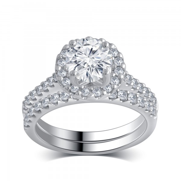 White Gold 1 5/8ct TDW White Diamond Bridal Set comes in a box - Custom Made By Yaffie™
