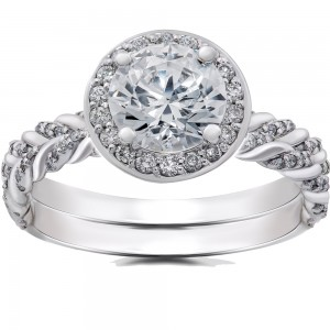 White Gold 1 ct Lab Grown Diamond Vintage Braided Halo Engagement Ring & Matching Band - Custom Made By Yaffie™