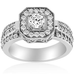 White Gold 1 ct TDW Diamond Cushion Halo Engagement Ring White Gold - Custom Made By Yaffie™