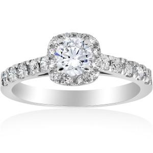 White Gold 1 ct TDW Diamond Halo Engagement Ring White Gold - Custom Made By Yaffie™