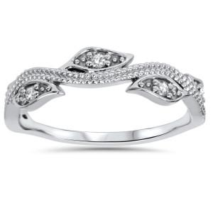 White Gold 1/10 ct TDW Vintage Leaf Vine Diamond Wedding Ring - Custom Made By Yaffie™