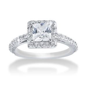 White Gold 1.1ct TDW Princess Diamond Halo Engagement Ring - Custom Made By Yaffie™