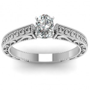 White Gold 1/2 ct. TDW Oval Diamond Solitaire Double Milgrain Engagement Ring by - Custom Made By Yaffie™