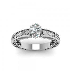 White Gold 1/2CTtw Pear Shaped Diamond Solitaire Engagement Ring by Fascinating Diamonds - Custom Made By Yaffie™