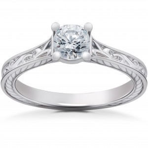 White Gold 1/2ct Eco Friendly Lab Grown Vintage Scroll Solitaire Sophia Engagement Ring - Custom Made By Yaffie™