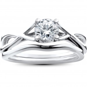 White Gold 1/2ct Intertwined Solitaire Diamond Engagement Ring Matching Wedding Band Set - Custom Made By Yaffie™