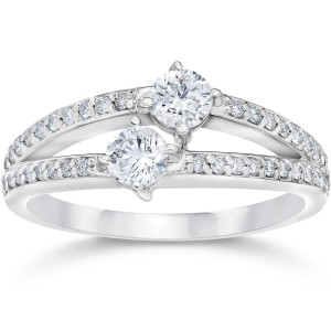 White Gold 1/2ct TDW 2-stone Forever Us Diamond Engagement Ring - Custom Made By Yaffie™