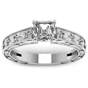 White Gold 1/2ct. TDW Asscher-cut Diamond Milgrain Legacy Style Engagement Ring by - Custom Made By Yaffie™