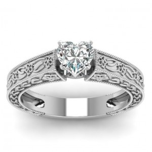 White Gold 1/2ct TDW Heart Diamond Ring by Fascinating Diamonds - Custom Made By Yaffie™