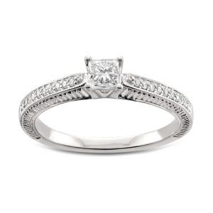 White Gold 1/2ct TDW Princess-cut White Diamond Engagement Ring - Custom Made By Yaffie™