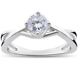 White Gold 1/2ct TDW Round Solitaire Diamond Vintage Twist Engagement Ring - Custom Made By Yaffie™