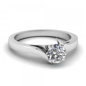 White Gold 1/2ct TDW White Diamond Solitaire GIA Certified Swirl Engagement Ring - Custom Made By Yaffie™