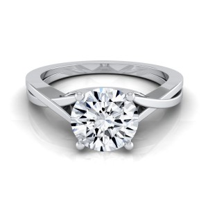 White Gold 1/2ctw TDW White Diamond Solitaire Cathedral Engagement Ring - Custom Made By Yaffie™