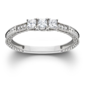 White Gold 1/3ct TDW Diamond Vintage Three Stone Promise Ring - Custom Made By Yaffie™
