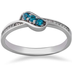 White Gold 1/6 ct TDW Blue & White Diamond 3-Stone Anniversary Ring - Custom Made By Yaffie™