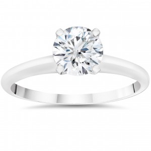 White Gold 1ct Round Cut Lab Grown Eco Friendly Diamond Solitaire Engagement Ring - Custom Made By Yaffie™