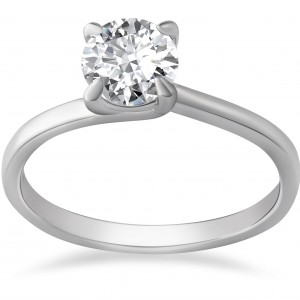 White Gold 1ct TDW Clarity Enhanced Diamond Solitaire Engagement Ring - Custom Made By Yaffie™