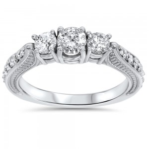 White Gold 1ct TDW Diamond 3-stone Vintage Engagement Ring - Custom Made By Yaffie™