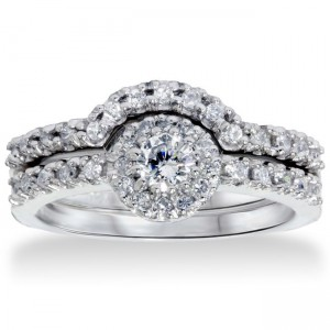 White Gold 1ct TDW Diamond Halo Bridal Set - Custom Made By Yaffie™