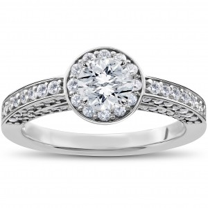 White Gold 1ct TDW Diamond Halo Vintage Heirloom Engagement Ring - Custom Made By Yaffie™