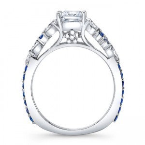 White Gold 1ct TDW Diamond and Blue Sapphire Princess Engagement Ring - Custom Made By Yaffie™