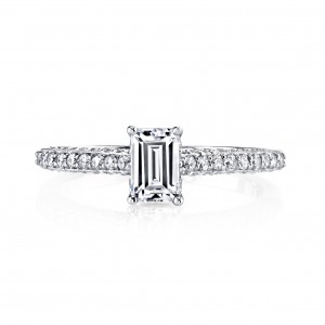 White Gold 1ct TDW Emerald-cut Diamond Engagement Ring - Custom Made By Yaffie™