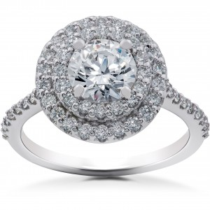White Gold 1ct TDW Halo Eco-Friendly Lab Grown Diamond Engagement Ring - Custom Made By Yaffie™