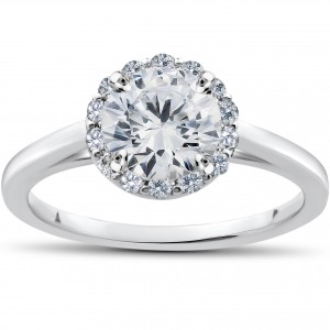 White Gold 1ct TDW Lab Grown Diamond Madelyn Halo Vintage Accent Engagement Ring - Custom Made By Yaffie™