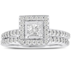 White Gold 1ct TDW Micropave Princess-cut Diamond Bridal Engagement Set - Custom Made By Yaffie™