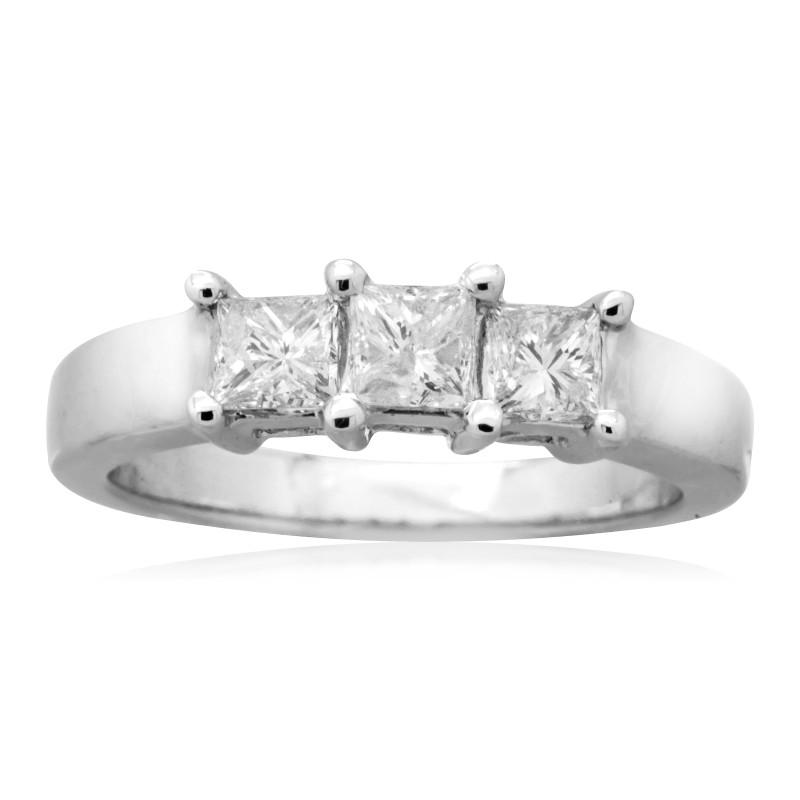 95ebdcb945784 White Gold 1ct TDW Princess-cut Diamond 3-stone Anniversary Ring ...