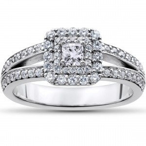 White Gold 1ct TDW Princess-cut Diamond Double Halo Engagement Ring - Custom Made By Yaffie™