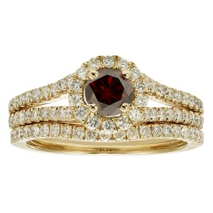 White Gold 1ct TDW Red Diamond Bridal Ring Set - Custom Made By Yaffie™