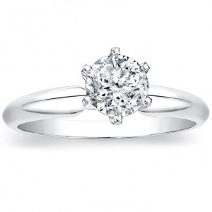 White Gold 1ct TDW Round 6-prong Diamond Solitaire Ring - Custom Made By Yaffie™