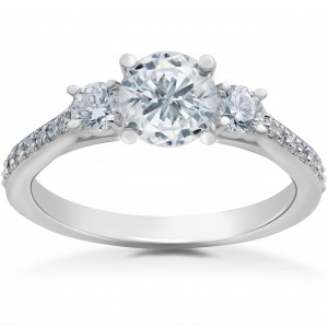 White Gold 1ct TDW Round Eco-Friendly Lab Grown Diamond 3-Stone Engagement Ring - Custom Made By Yaffie™