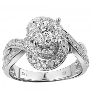 White Gold 1ct TDW White Diamond Swirl Band Engagement Ring - Custom Made By Yaffie™