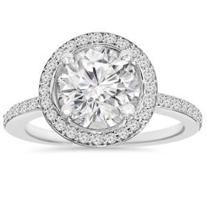 White Gold 2 1/ 8 ct TDW Clarity Enhanced Diamond Round Engagement Wedding Ring - Custom Made By Yaffie™