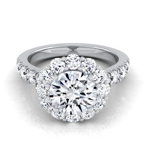 White Gold 2 1/10ct TDW Round Diamond Halo Engagement Ring - Custom Made By Yaffie™