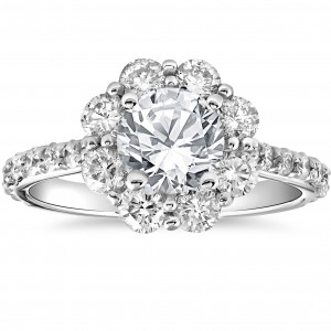White Gold 2 1/2 cttw Halo Round Cut Diamond Enhanced Engagement Ring - Custom Made By Yaffie™