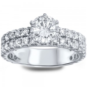 White Gold 2 1/2ct TDW Diamond Double Row Engagement Ring - Custom Made By Yaffie™