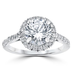 White Gold 2 1/3 ct Round Round Diamond Clarity Enhanced Halo Engagement Ring - Custom Made By Yaffie™